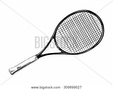Vector Engraved Style Illustration For Posters, Decoration And Print. Hand Drawn Sketch Of Tennis Ra