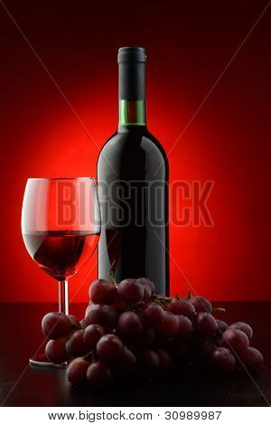 Bottle And Glass Of A Red Wine