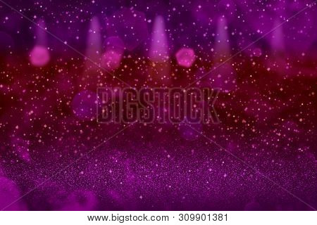 Wonderful Bright Abstract Background Stage Spotlights With Sparks Fly Defocused Bokeh - Celebratory