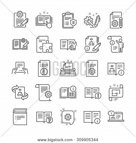 Technical Document Line Icons. Set Of Plan, Instruction And Manual Icons. Help Document, Building Pl