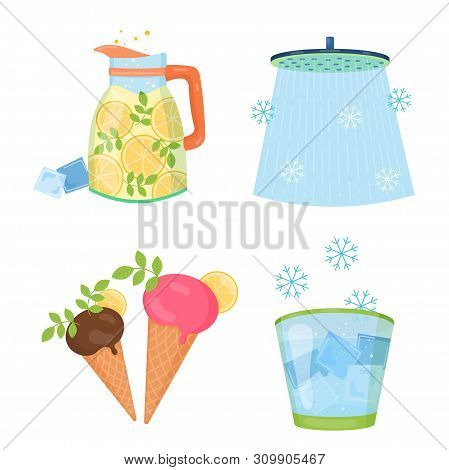 Cooling Things For Summer. Summer Chill Concept Illustration. Chill Shower, Shaved Ice, Lemon Lemona