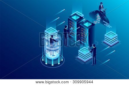 Datacenter Server Room Cloud Storage Technology And Big Data Processing Protecting Data Security Con