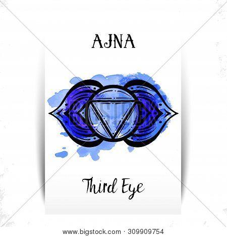 Circle Mandala Pattern. Ajna Chakra Vector Illustration. Watercolor Splashes. Yoga Symbol. Sixth Cha
