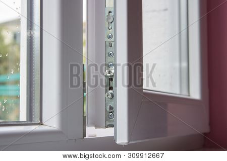 Opened Plastic Window Close Up, Airing The Room With The Open Window Is White