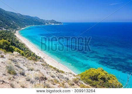 Pefkoulia beach, on the west side of Lefkada island, Ionian Sea, Greece
