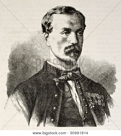 Captain Edouard Frederic Michelon old engraved portrait (Captain of Zouave regiment, dead during Puebla attack, Mexico). Created by Chenu, published on L'Illustration, Journal Universel, Paris, 1863 poster