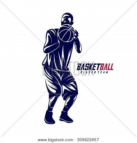 Modern Basketball Sport Silhouette Logo Vector Template. Basketball Player Slam Dunk Design Vector