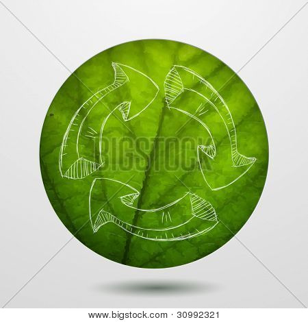 Green leaf with recycle icon