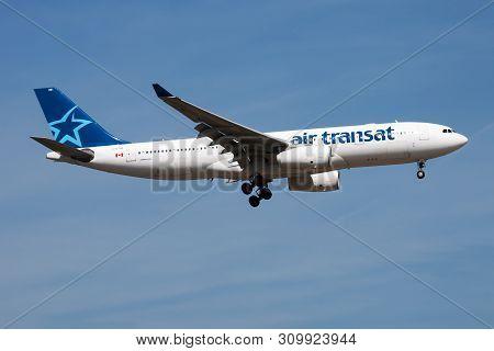 Frankfurt / Germany - August 21, 2013: Air Transat Airbus A330-200 C-gtsr Passenger Plane Landing At