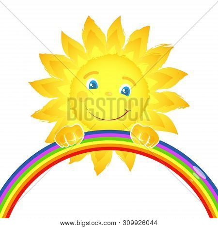 Merry Happy Sun Over The Colorful Rainbow