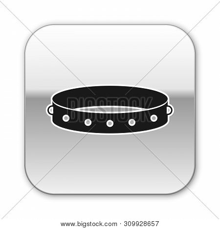 Black Leather Fetish Collar With Metal Spikes On Surface Icon Isolated On White Background. Fetish A