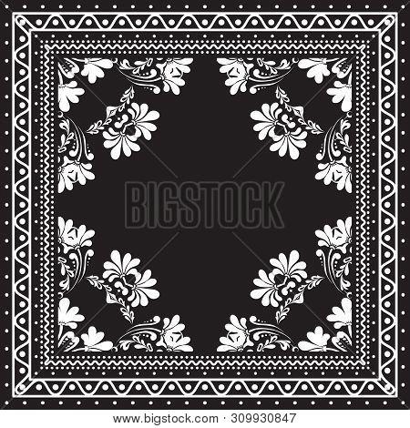 Black And White Bandana Print Design With Borders For Fashion Textile. Silk Headwear