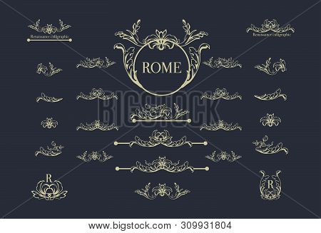 Vector Set Of Italian Calligraphic Design Elements For Page Decor, Dividers And Ornate Headpieces, V