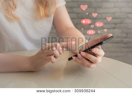 Social Media, Social Network Concept With Smart Phone, Young Woman Using Mobile Phone, Female Hands