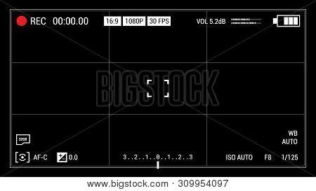 Camera Viewfinder Black Background. Widescreen Illustration. Ui Elements: Time Indicator, Recording