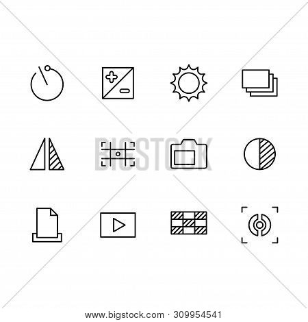 Photography And Photo Camera, Video Shooting Icon Simple Symbols Set. Photo Camera Settings, Zoom, I