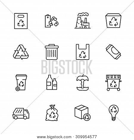 Garbage Collection And Waste Disposal Icon Simple Symbols Set. Ecology And Environment Safety. Proce
