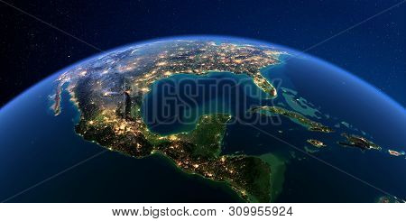 Planet Earth With Detailed Exaggerated Relief At Night Lit By The Lights Of Cities. North America. G