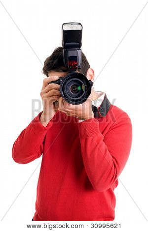 Professional photographer with camera on white background