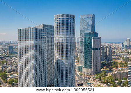 Tel Aviv Skyline, Tel Aviv Skyscrapers, Cityscape At Day, Israel