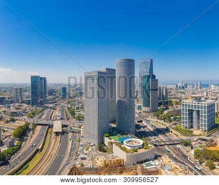 Tel Aviv Skyline At Sunny Summer Day,  Tel Aviv Cityscape Large Panorama At Day, Israel