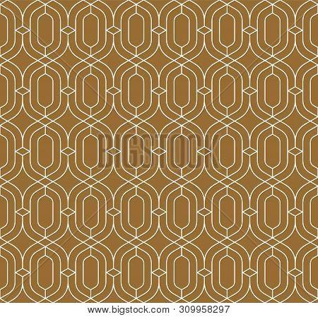 Seamless Geometric Pattern Of Intertwining White Lines On A Brawn Background.