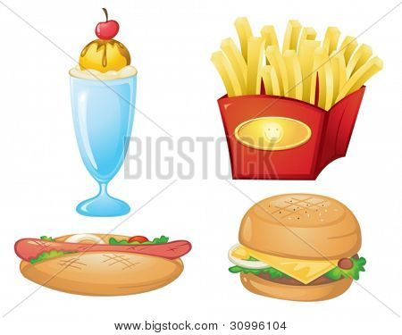 illustration of food items on a white background