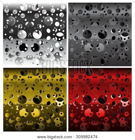 Set Of Textures Of Perforated Multi-layer Iron, Different Colors