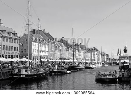 Nyhavn Or The New Harbor, Famous District In Copenhagen Of Denmark In Monotone, 12th July 2013