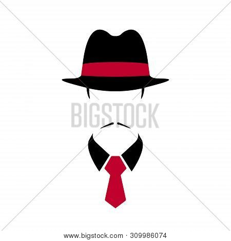 Portrait Of Italian Man In Black Vintage Hat And Red Tie. Vector Illustration.