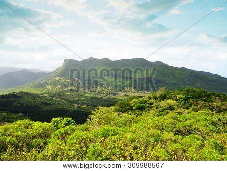 View on the highest mountain of Mauritius island ( Piton de la petite riviere noire ) from Le Morne Brabant.