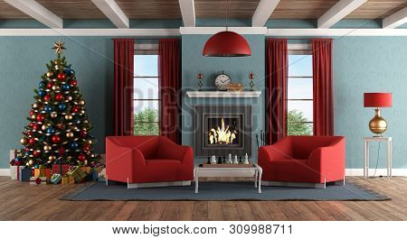 Livng Room With Christmas Tree,fireplace,gift And Red Armchair - 3d Rendering