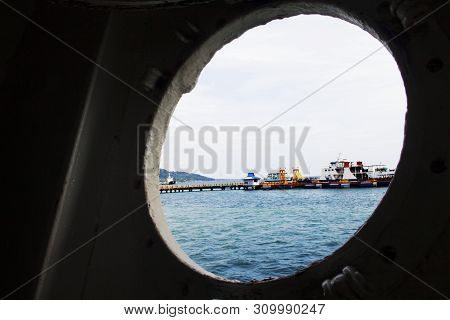 Ships In The Port In Day Light Look From Black Hole