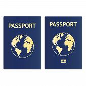 Passport document ID. International pass for tourism travel. Emigration passport citizen ID with globe. Vector icon poster
