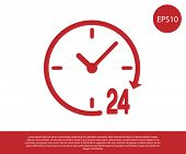 Red Clock 24 hours icon isolated on white background. All day cyclic icon. 24 hours service symbol. Vector Illustration poster