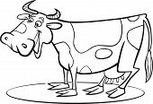 coloring page illustration of funny farm cow poster