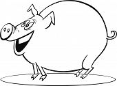 coloring page illustration of funny farm pig poster