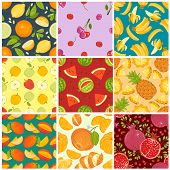 Fruit pattern seamless fruity background and fruitful exotic wallpaper with fresh slices of watermelon orange apples and tropical fruits illustration backdrop set poster