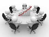 3d people - human character person sitting at a round table and financial chart - diagram. 3d render poster