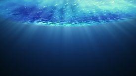 Beautiful Underwater Sea Scene View  And Ripples.