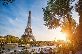Sunset View Of Eiffel Tower And Seine River In Paris, France. Architecture And Landmarks Of Paris. P