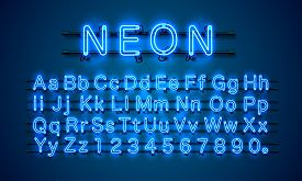 Neon City Color Blue Font. English Alphabet And Numbers Sign.