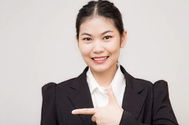 Business Asian Smart Women With Black Suit White Collar