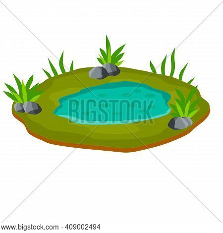 Pond And Swamp, Lake. Landscape With Grass, Stones. Platform And Ground. Background For Illustration