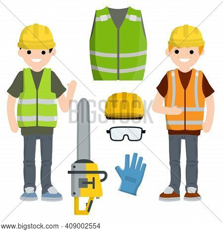 Two Men Workers In Uniform With Helmets, Chainsaw, Glove And Glasses.. Industrial Safety. Maintenanc