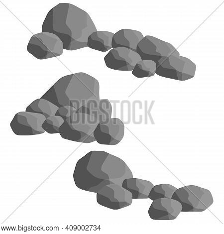 Flat Illustration. Minerals, Boulder And Cobble. Element Of Nature, Mountains Or Rocks, Caves