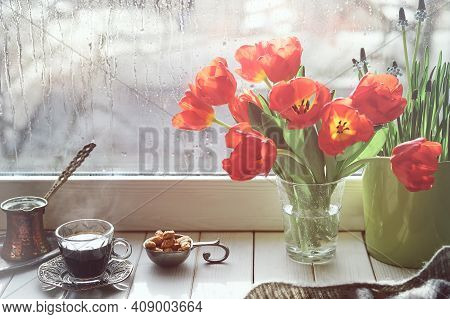 Oriental Coffee In Traditional Turkish Copper Coffee Pot With Flowers On Window Sill. Rustic Wooden