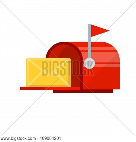 Red Mailbox With Yellow Letter In Envelope. Mail And Message. Cartoon Flat Illustration. Work Post O