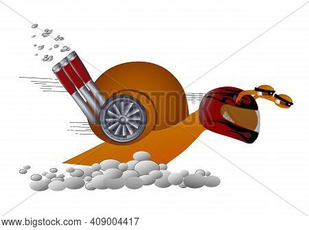 Cartoon Funny Turbo Snail. Illustrated Funny Character Of A Snail With A Turbine On The Shell And He