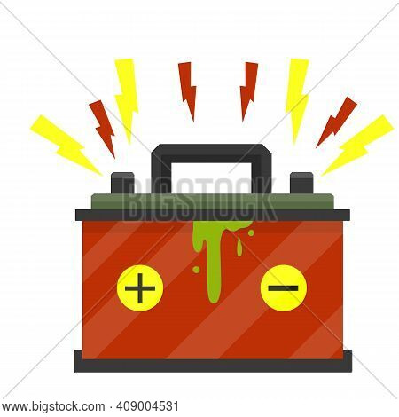 Broken Car Battery. Rechargeable Electricity Accumulator. Damaged Object. Red And Yellow Lightning A